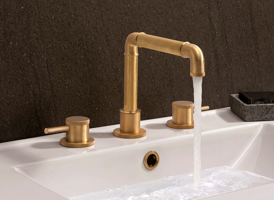 Crosswater MPRO Industrial Brushed brass 3 Hole Basin Tap