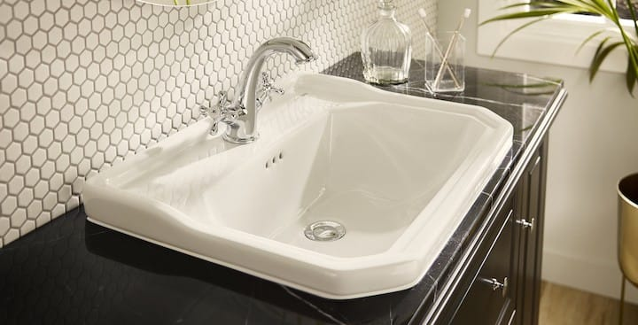 A Roca Carmen inset basin fitted into a worktop
