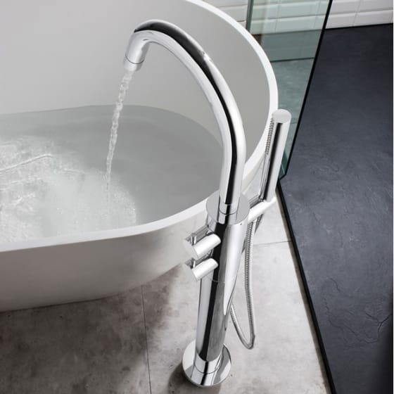 Image of Crosswater Kai Lever Freestanding Bath Tap With Shower Kit