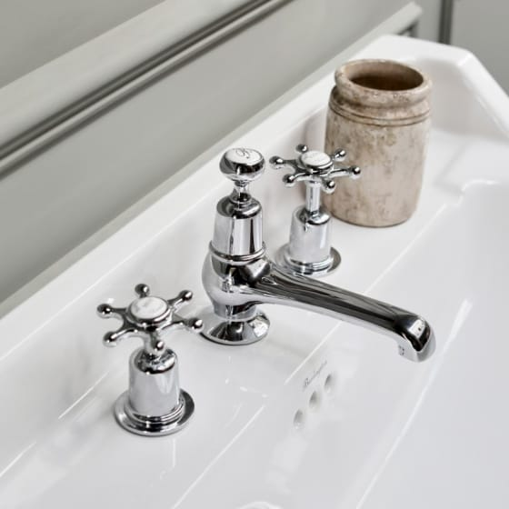 Image of Burlington Traditional 3 Tap Hole Basin Mixer Tap With Pop-up Waste