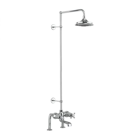 Image of Burlington Tay Thermostatic Deck Mounted Bath Shower Mixer Valve With Rigid Riser