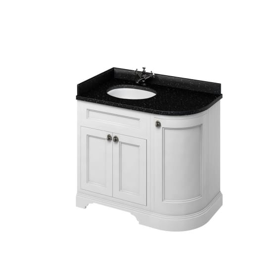 Image of Burlington Freestanding Curved Corner Vanity Unit with Minerva Worktop and Basin