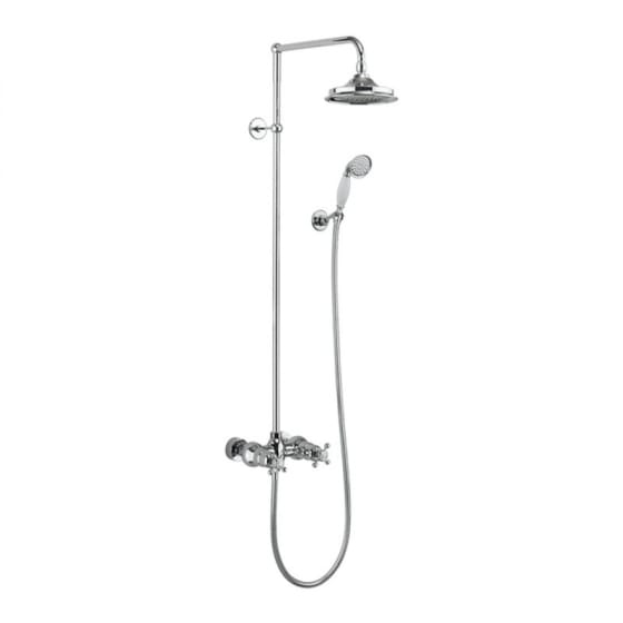 Image of Burlington Eden Dual Outlet Thermostatic Exposed Shower Valve With Shower Head & Handset