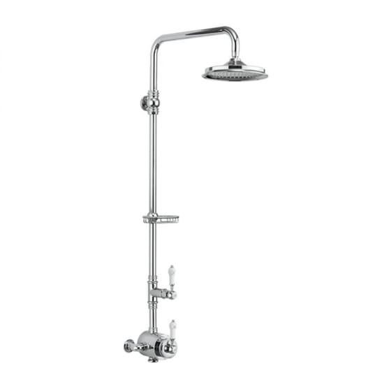 Image of Burlington Stour Single Outlet Thermostatic Exposed Shower Valve With Shower Head & Riser Kit